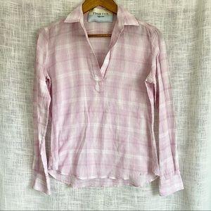 Tish Cox Designer Pink Plaid Popover Top